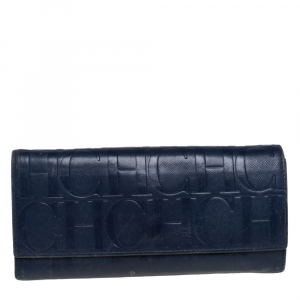 Carolina Herrera Blue Monogram Leather Continental Wallet
