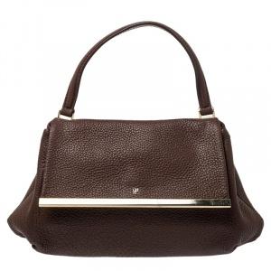 حقيبة كارولينا هيريرا إطار معدني جلد بني بيد علوية