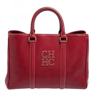 حقيبة يد كارولينا هيريرا ماتيو جلد مُحبب أحمر