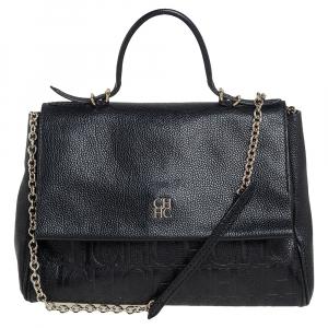 حقيبة يد علوية كارولينا هيريرا مينويتو قلاب جلد منقوش أسود
