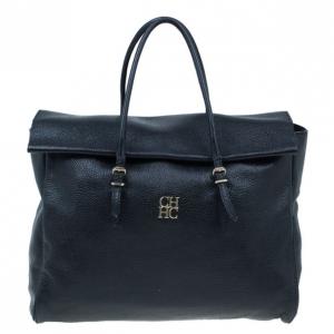 Carolina Herrera Black Leather Tempo Collection Adagio Bag