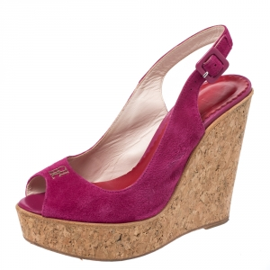 Carolina Herrera Pink Suede Cork Wedge Platform Peep Toe Slingback Sandals Size 37 - used