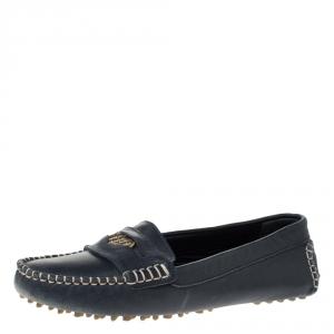 Carolina Herrera Navy Blue Leather Loafers Size 39 - used