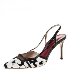 Carolina Herrera Black/White Floral Embossed Fabric Pointed Toe Slingback Pumps Size 37
