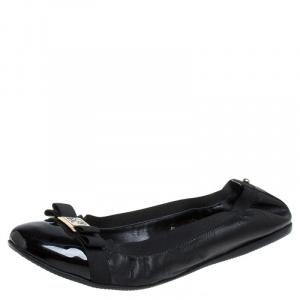 Carolina Herrera Black Patent Leather Bow Scrunch Ballet Flats Size 41