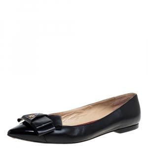 Carolina Herrera Black Leather Bow Ballet Flats Size 38