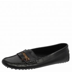 Carolina Herrera Navy Blue Leather Logo Chain Loafers Size 41 - used