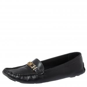 Carolina Herrera Black Leather Logo Detail Slip On Loafers Size 37
