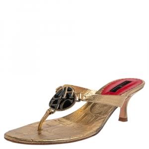Carolina Herrera Gold Leather Logo Embellished Thong Sandals Size 39