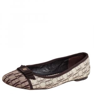 Carolina Herrera Brown/Beige Monogram Canvas Cap Toe Bow Ballet Flats Size 39 - used