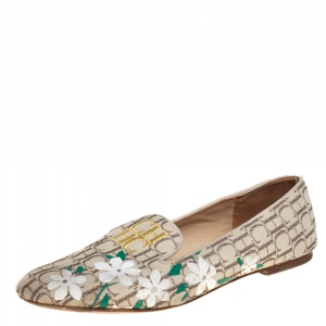 Carolina Herrera Beige Floral Print Signature Canvas Logo Smoking Slippers Size 39