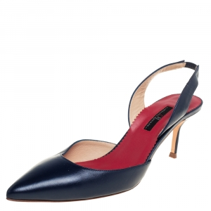 حذاء كعب عالي كارولينا هيريرا فتحة كعب جلد كحلي مقاس 41