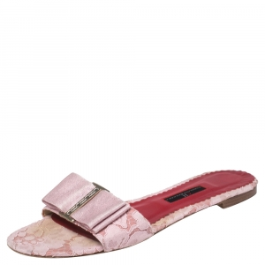 Carolina Herrera Pink Satin And Lace Bow Slide Sandals Size 39 - used