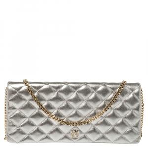 Carolina Herrera Metallic Silver Quilted Leather Chain Clutch