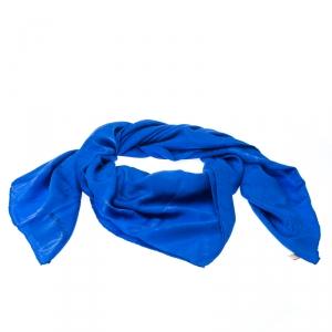 Must de Cartier Cobalt Blue Le Panthere Monogram Silk Square Scarf