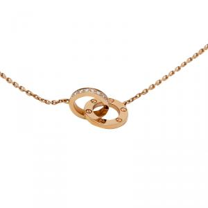 Cartier Love 18K Rose Gold With Diamonds Necklace