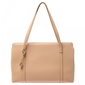 Cartier Beige Leather Cabochon Tote