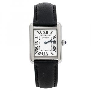 Cartier Silver Stainless Steel Leather Tank Solo 3170 Women's Wristwatch 24 mm