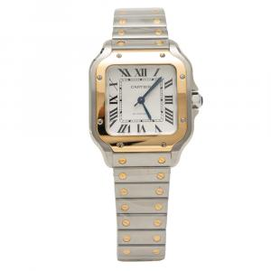 Cartier Silver Dial Santos de Cartier Steel & Yellow Gold Medium Size 35 MM