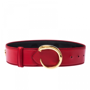 Cartier Red Leather Studded Panthere Belt 75CM