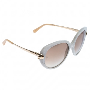 Cartier White Marble/Gold Panthere Square Sunglasses