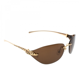 Cartier Brown/Gold T82006 Panthere Rimless Sunglasses