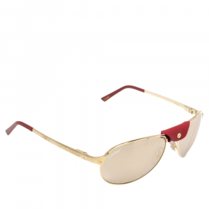 Cartier Gold Tone/ Gold Mirrored CT0077S Santos-Dumont Aviator Sunglasses