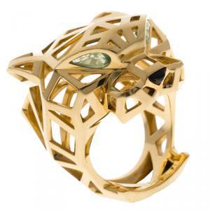 Cartier Panthère de Cartier Tsavorite Garnets Onyx 18k Yellow Gold Ring Size 57