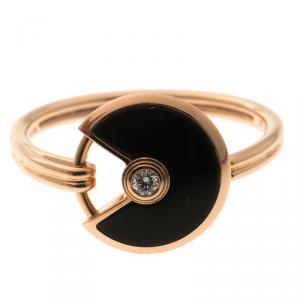 Cartier Amulette de Cartier Onyx Diamond Rose Gold Ring Size 56