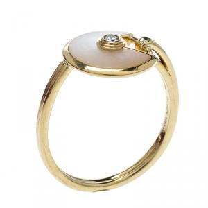 Cartier Amulette De Cartier Mother of Pearl Diamond 18k Yellow Gold Ring Size 53