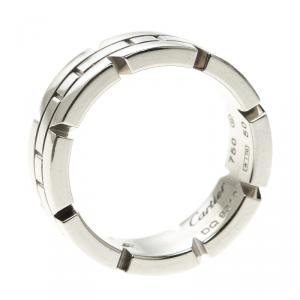 Cartier Tank Francaise 18K White Gold Band Ring Size 50