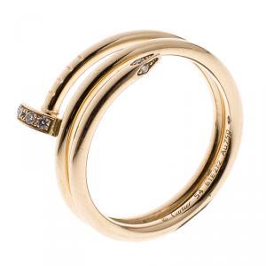 Cartier Juste Un Clou Diamond 18k Rose Gold Ring Size 54