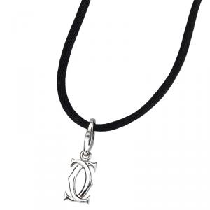 Cartier Double CC 18K White Gold Pendant Necklace