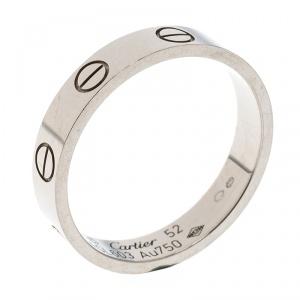Cartier Love 18k White Gold Mini Ring Size 52