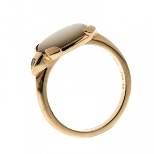 Cartier Tortue Mother-of-Pearl 18k Yellow Gold Ring Size 50