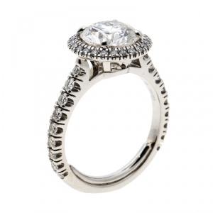 Cartier 1895 Destinee 2.08ct Diamond Solitaire Platinum Halo Engagement Ring Size 51