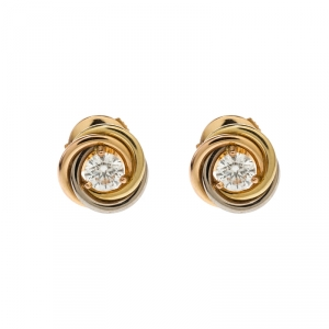 Cartier Trinity De Cartier Diamond 18k Three Tone Gold Stud Earrings
