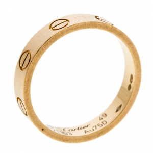 Cartier Love 18K Yellow Gold Mini Ring Size 49