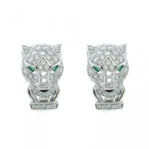 Cartier Panthere De Cartier Diamond Emerald & Onyx 18k White Gold Earrings