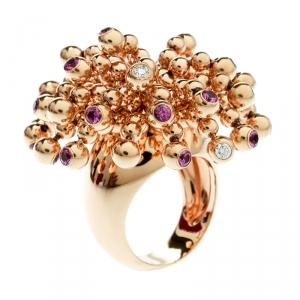 Cartier Paris Nouvelle Vague Diamond & Pink Sapphire 18k Rose Gold Cocktail Ring Size 52