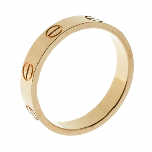 Cartier Love 18k Yellow Gold Mini Band Ring Size 52