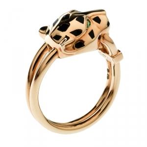 Cartier Panthere de Cartier Diamond Lacquer Garnet 18k Yellow Gold Ring Size 55