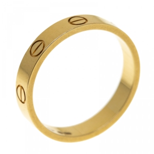 Cartier Love 18k Yellow Gold Mini Band Ring Size 54