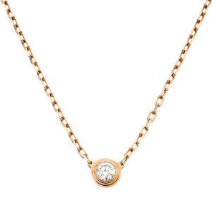 Cartier Diamants Légers Diamond 18k Rose Gold Pendant Necklace SM