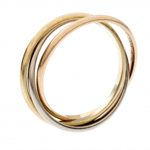 Cartier Trinity De Cartier 18k Three Tone Gold XS Rolling Band Ring Size 51