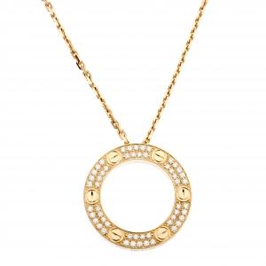 Cartier Love Pavé Diamond 18k Yellow Gold Pendant Necklace