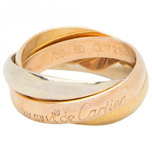 Cartier Les Must De Cartier Trinity Three Tone 18k Gold Band Ring Size 50