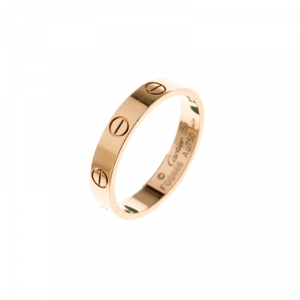Cartier Love 18k Rose Gold Mini Band Ring Size 55