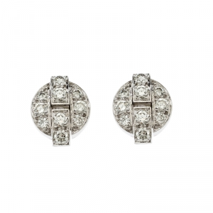 Cartier Himalia Diamond 18k White Gold Stud Earrings