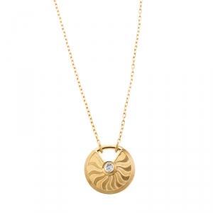 Cartier Amulette de Cartier Diamond Guilloche 18k Yellow Gold Long Pendant Necklace SM